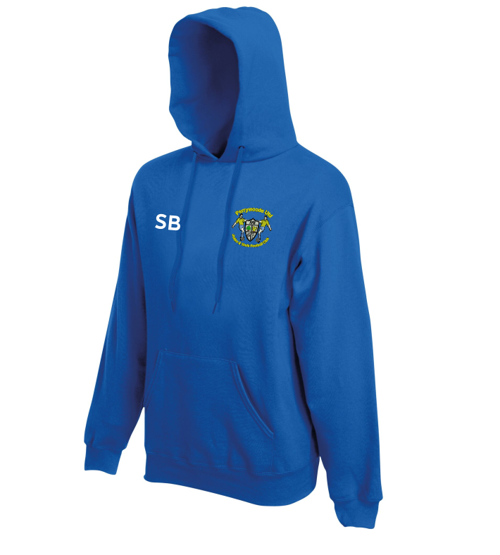 Pullover Hooded sweatshirt with club logo printed to front and PWUFC to back – name or initials to front