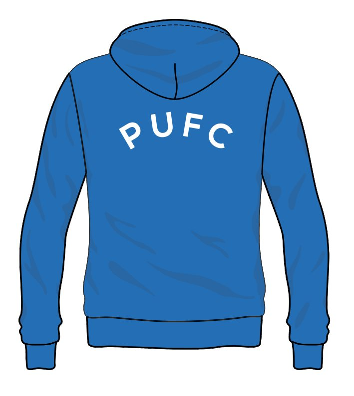 Pullover Hooded sweatshirt with club logo printed to front and PWUFC to back