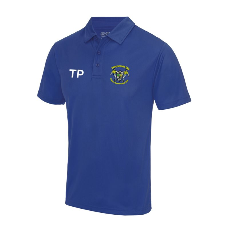 Polyester cool fabric polo shirt, embroidered with club logo to left breast and name or initials printed front right chest
