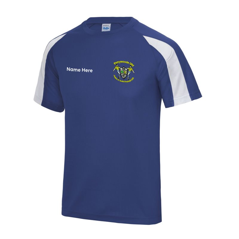 Polyester cool fabric contrast colour t shirt, embroidered with club logo to left breast and name printed front right chest