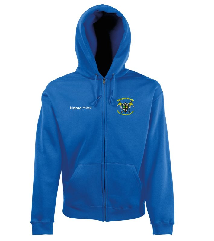 Pullover Zip Through Hooded sweatshirt with club logo printed to front and PWUFC to back  – name or initials to front